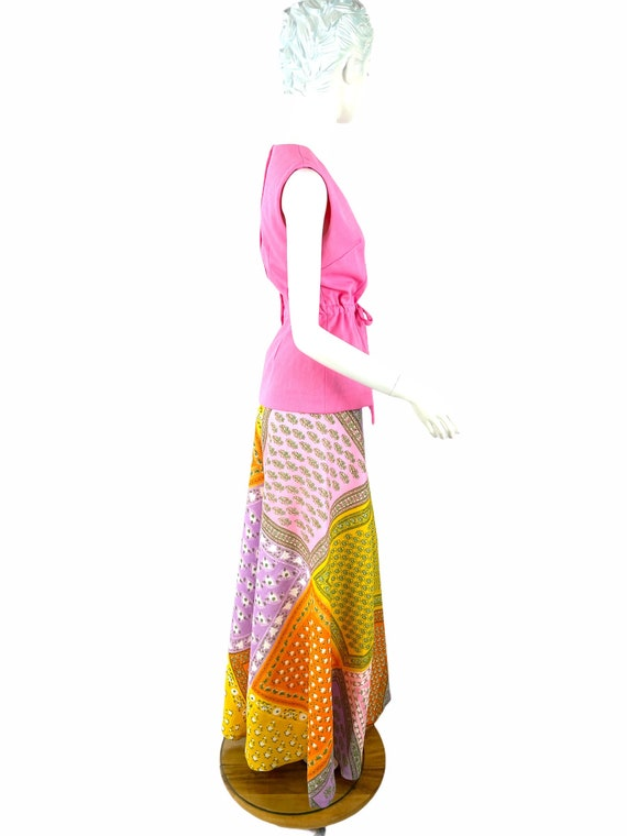 1960s/70s palazzo pants and top patchwork print w… - image 6