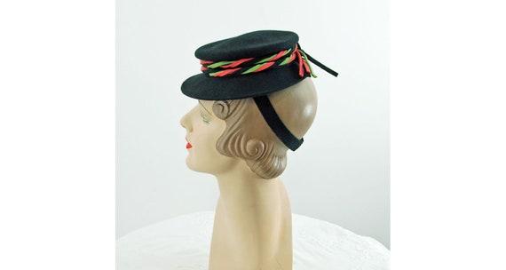 1940s tilt hat doll hat black wool felt with green