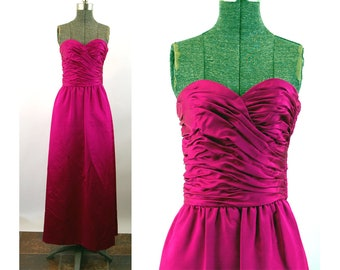 1960s gown fuchsia silk strapless dress with ruched bodice Size S/M