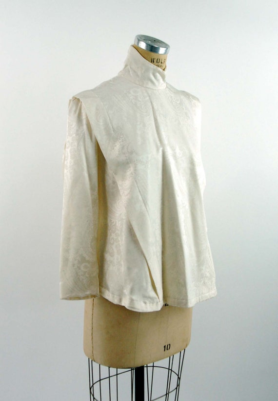 Ivory silk jacquard paisley blouse Victorian styl… - image 4