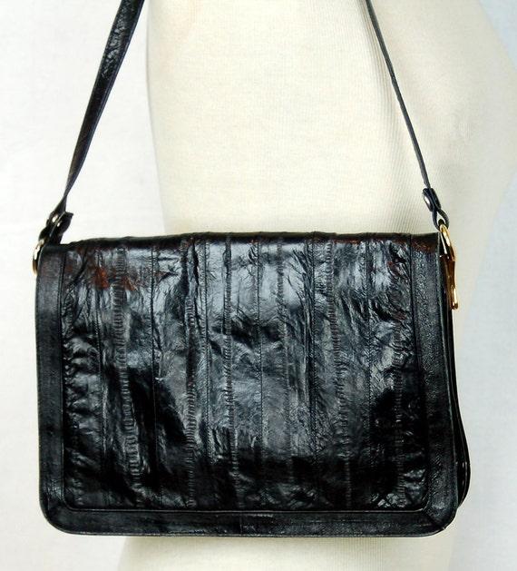 1980s eel skin purse, black eel skin shoulder bag… - image 3