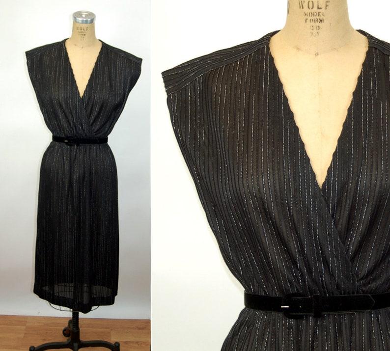 f9da8113fec 1960s dress by Leslie Fay black and silver semi sheer striped