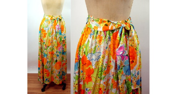 1960s 70s maxi skirt bright tropical floral Alice
