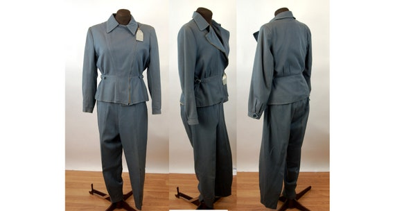1940s womens ski suit gray gabardine wool zip out