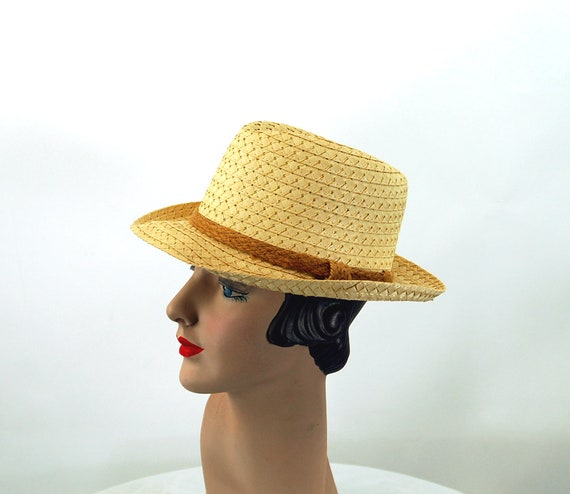 Straw fedora hat jute band summer hat natural str… - image 1