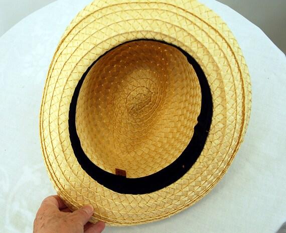Straw fedora hat jute band summer hat natural str… - image 6