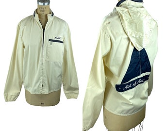 Vintage wind breaker sailing boating jacket with hood and embroidered name Ruth Size M
