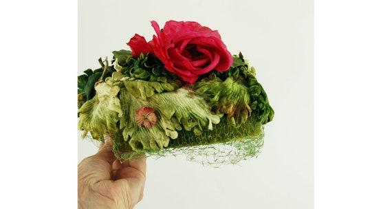 Oleg Cassini hat velvet leaves silk flowers flower