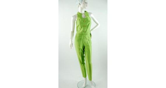 1990s pantsuit chartreuse green crop top slim pant