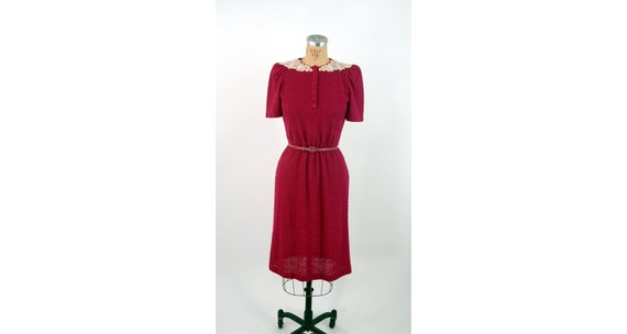 Button Front Dress Leslie Fay Petites Medium Puffed Sleeves and Pleated Front Red Dress With High Neck