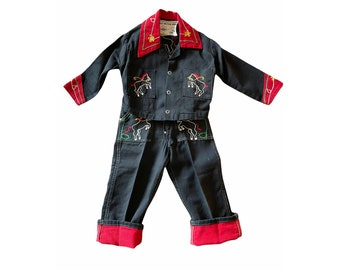 1950s toddler western outfit black red denim embroidered horses Walls Western Wear Size approx  2T