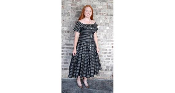 1950s dress brown black tan striped silk dress wit