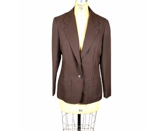 1970s brown blazer by College Town polyester knit Size M