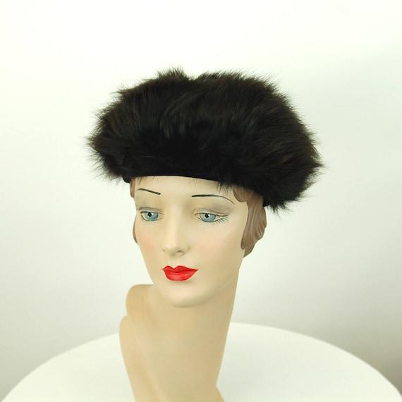 1960s fur hat Dachettes Lilly Dache black fur wint
