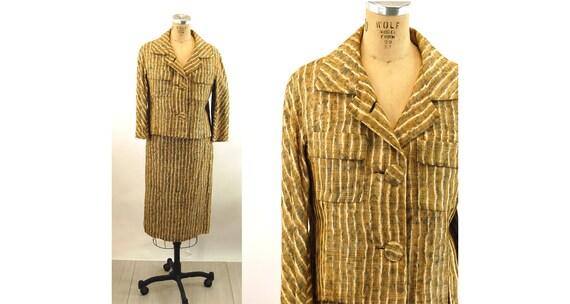 1950s suit Ben Zuckerman linen skirt suit in strip
