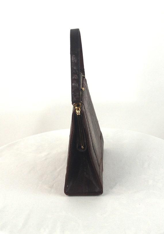 1950s lizard skin purse handbag kelly bag brown l… - image 8