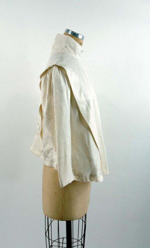Ivory silk jacquard paisley blouse Victorian styl… - image 3