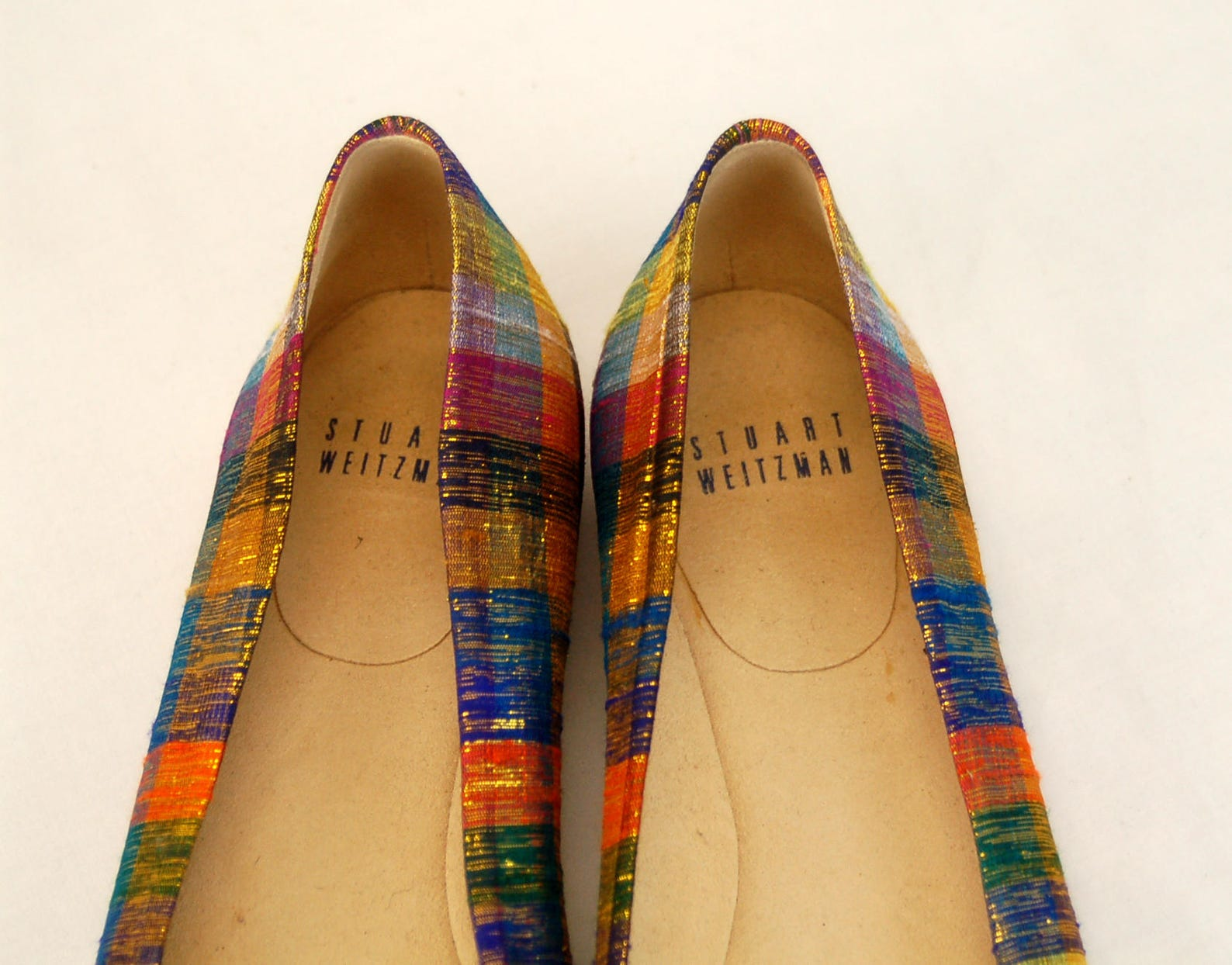 stuart weitzman shoes ballet flats plaid fabric metallic gold size 7 m 1980s shoes