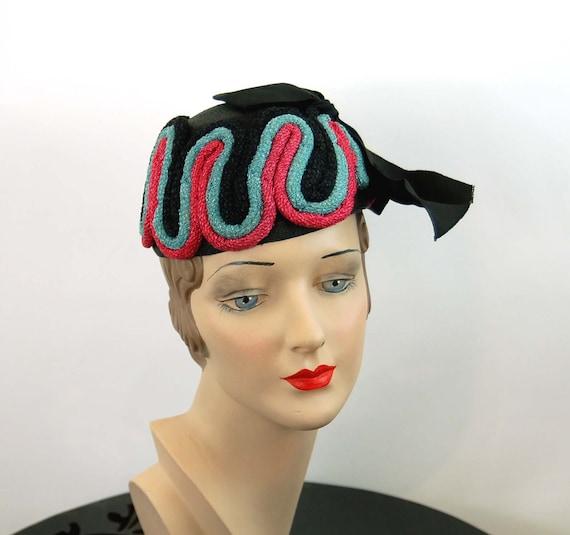 1940s hat toque hat black pink turquoise rope loop