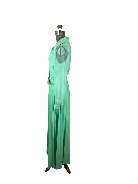 1970s mint green pleated maxi dress chiffon sleev… - image 4