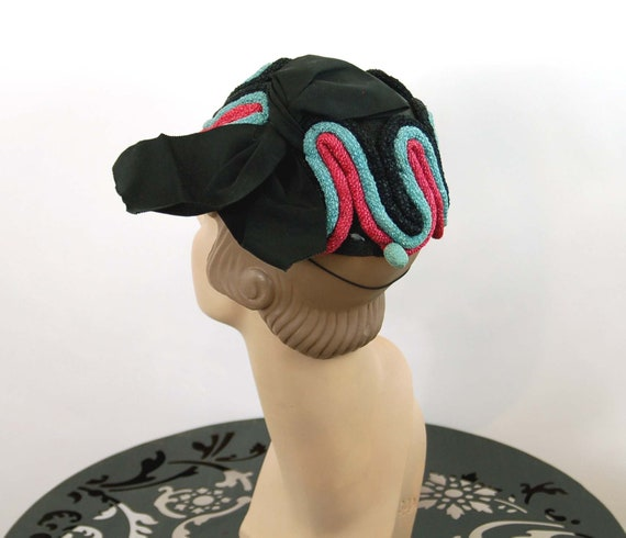 1940s hat toque hat black pink turquoise rope loo… - image 5