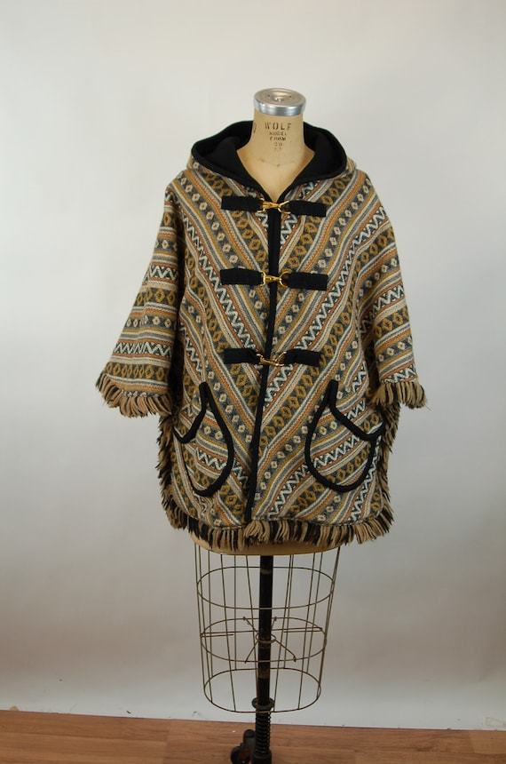 1960s cape reversible wool cape poncho with hood … - image 2