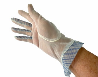 1950s sheer white nylon gloves blue plaid trim Size M
