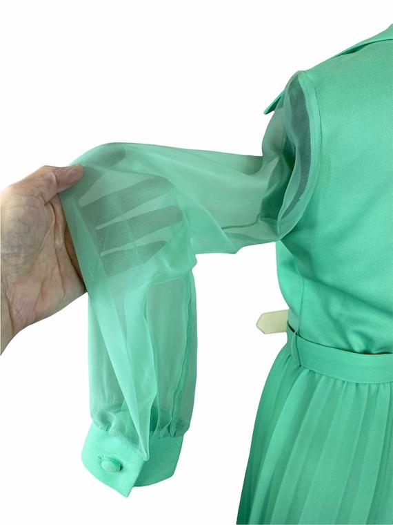1970s mint green pleated maxi dress chiffon sleev… - image 3