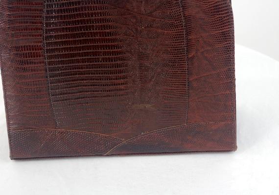 1950s lizard skin purse handbag kelly bag brown l… - image 7