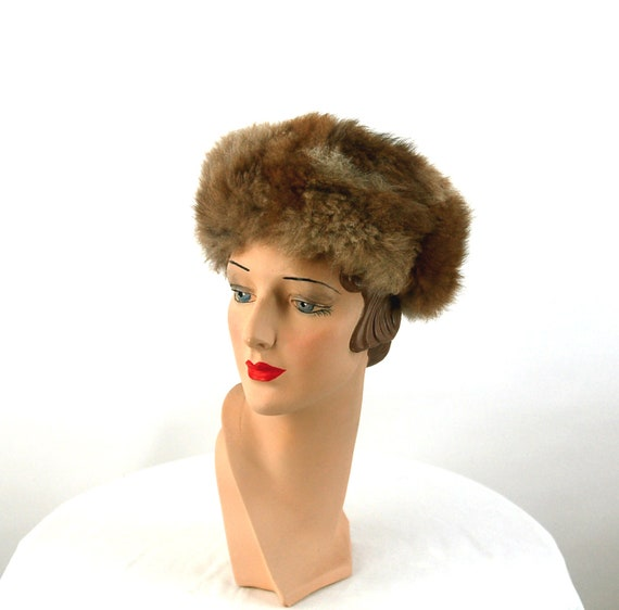 1960s fur hat possum fur hat Russian style hat