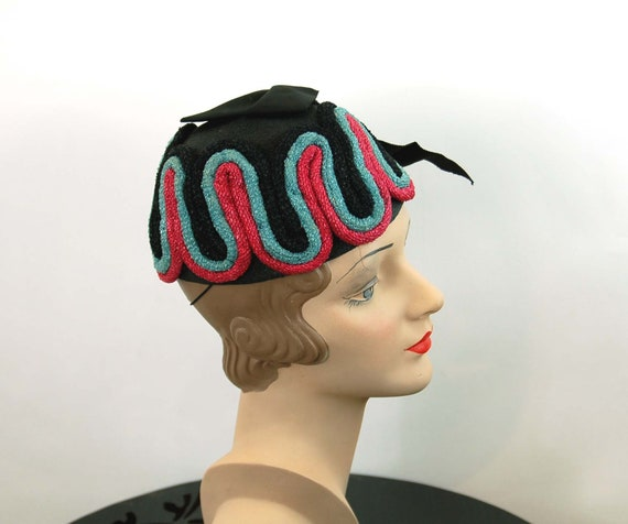1940s hat toque hat black pink turquoise rope loo… - image 3