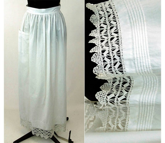 Edwardian apron with crocheted lace and pintuck pl