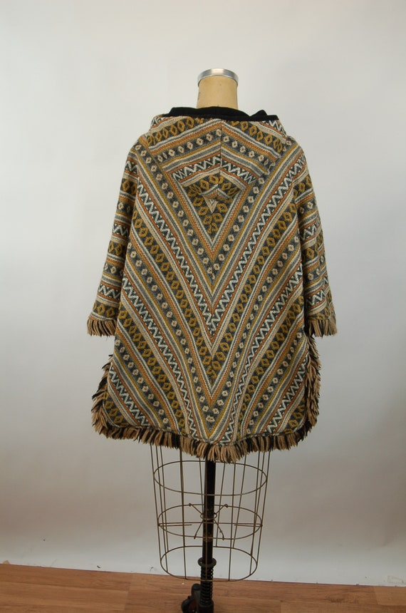 1960s cape reversible wool cape poncho with hood … - image 5