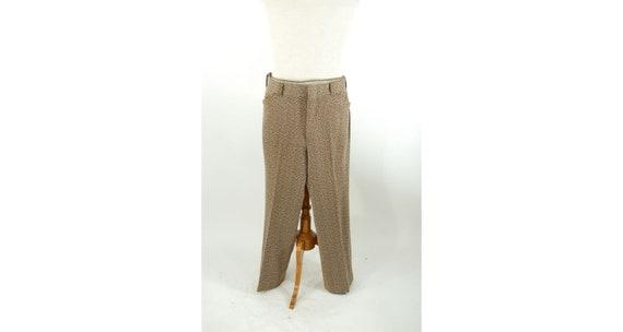 1970s men's polyester knit pants brown white abstr