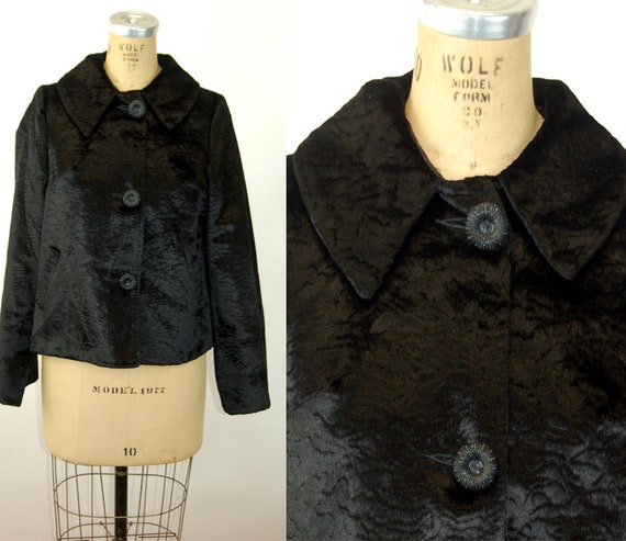 1960s velvet jacket cropped textured big buttons b