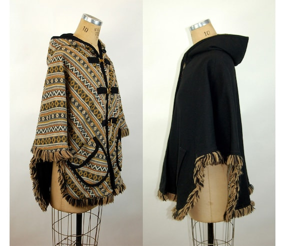 1960s cape reversible wool cape poncho with hood … - image 1