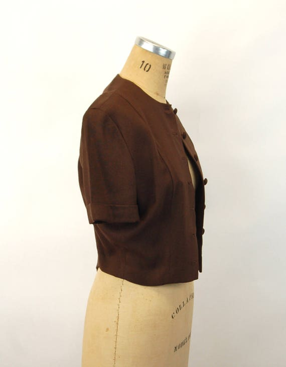 1940s jacket linen cropped jacket brown fitted co… - image 4
