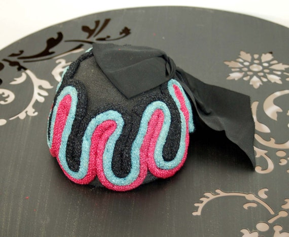1940s hat toque hat black pink turquoise rope loo… - image 7