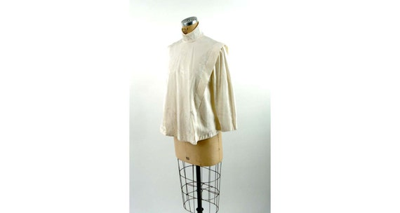 Ivory silk jacquard paisley blouse Victorian style