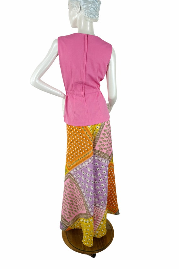 1960s/70s palazzo pants and top patchwork print w… - image 5