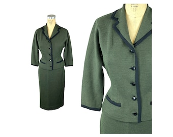 1950s wool suit green black checked Made in France Size S