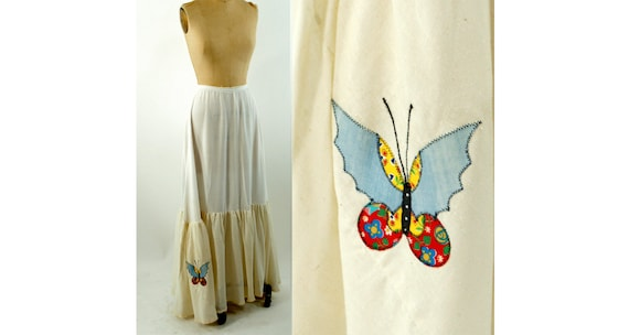 1970s maxi skirt with butterfly patchwork applique