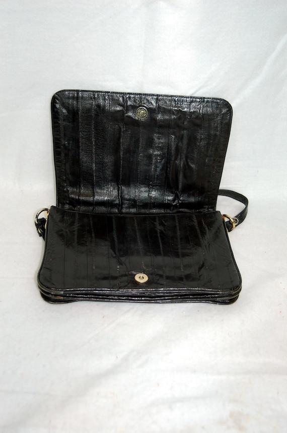 1980s eel skin purse, black eel skin shoulder bag… - image 4