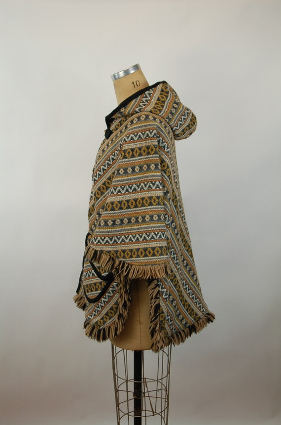 1960s cape reversible wool cape poncho with hood … - image 4