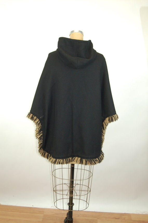 1960s cape reversible wool cape poncho with hood … - image 9