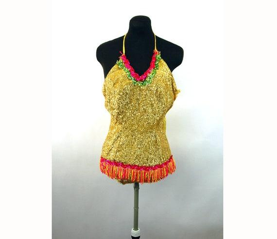 1950s 60s dance costume shiny gold eyelash lame se