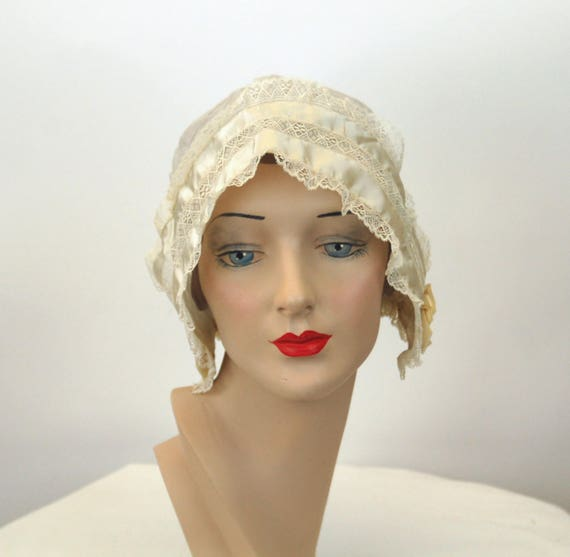 Antique boudoir cap ivory silk with ribbons 1910s