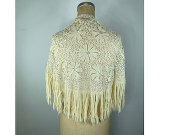 Gorgeous wool shawl with floral embroidery and sequins