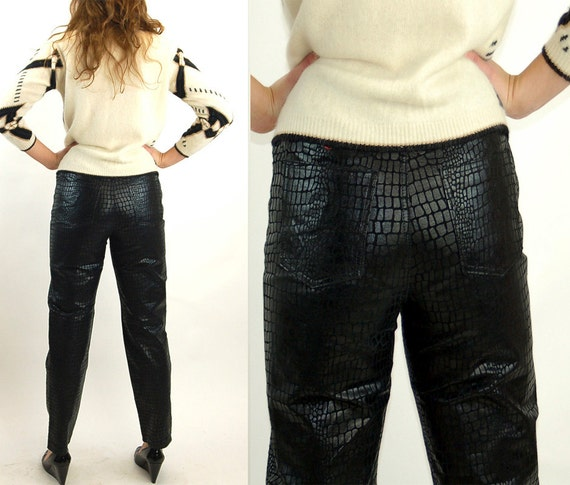 Black leather pants, high waisted leather pants, 1