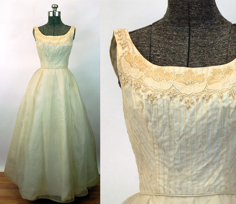 e28ec2bf605f 1960s gown ivory chiffon embroidered appliqued bodice pearls | Etsy